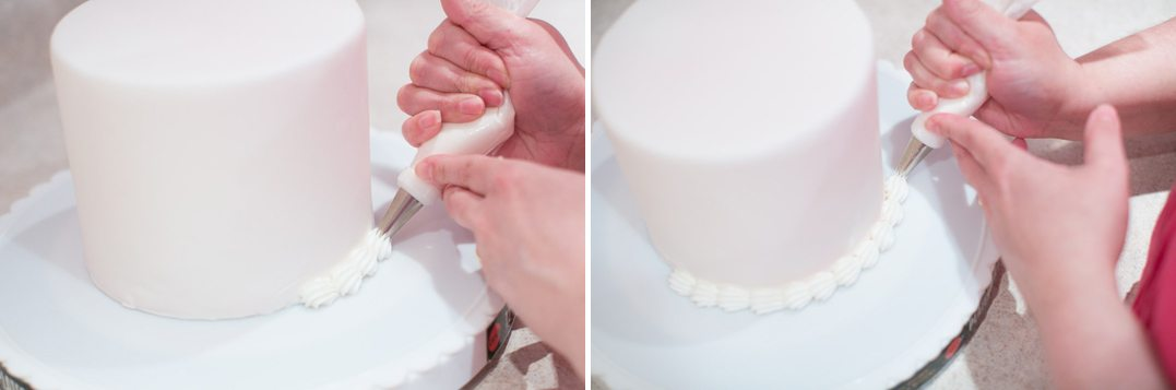 the frosted petal wedding cakes