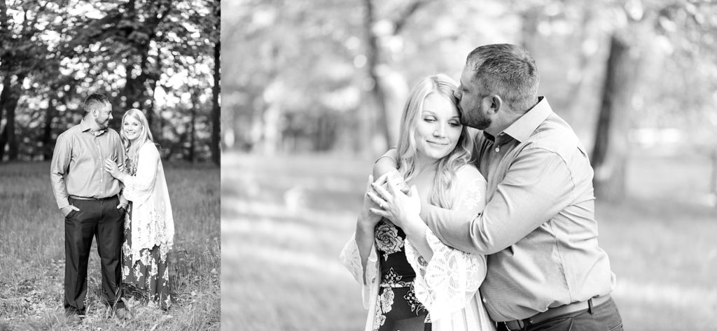 two black and white photos of a couple at Brunet Island State Park in Cornell, WI