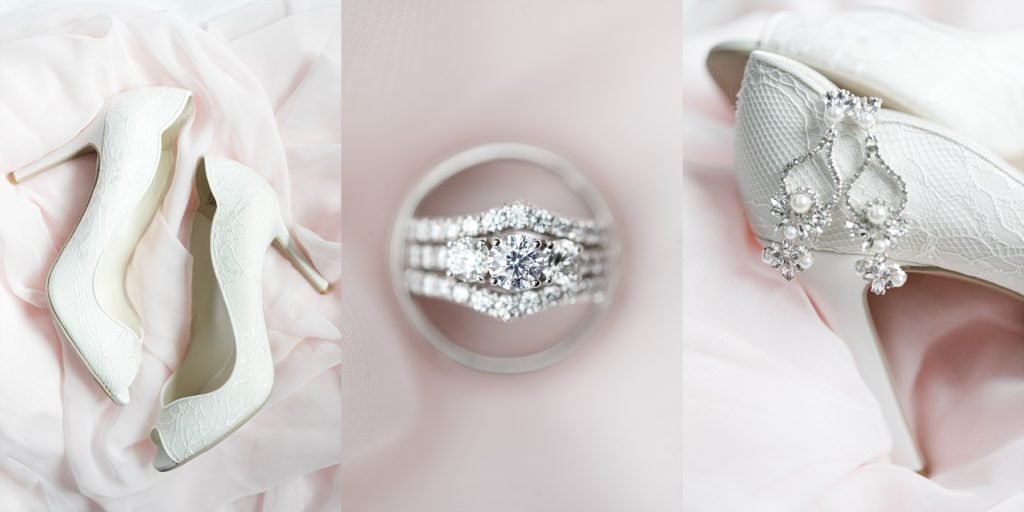 shoes, earrings and wedding rings at The Florian Gardens in Eau Claire, WI