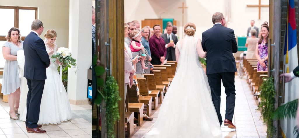 father walking daughter down the aisle at Hope Lutheran Church in Eau Claire