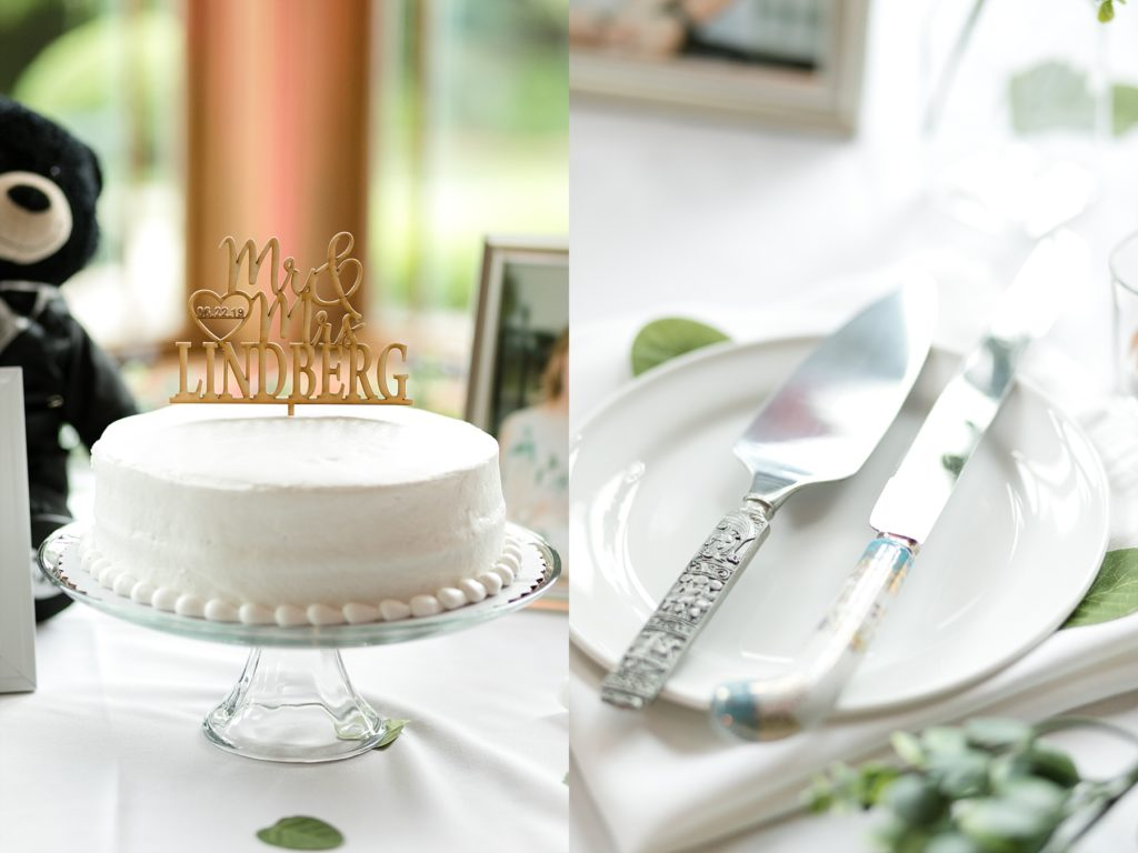 bride and grooms wedding cake and serving utensils at wedding atThe Florian Gardens in Eau Claire