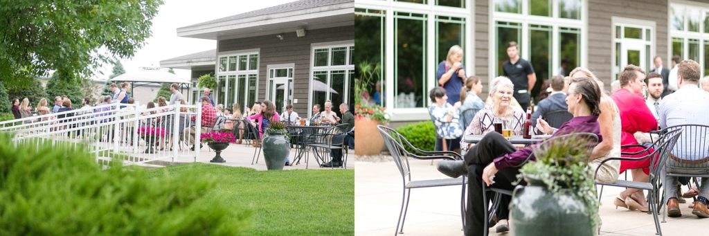 guests enjoying cocktail hour on the patio at wedding atThe Florian Gardens in Eau Claire