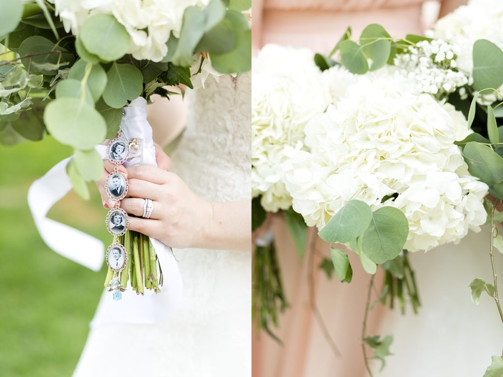 bouquets and bouquet charms at wedding atThe Florian Gardens in Eau Claire