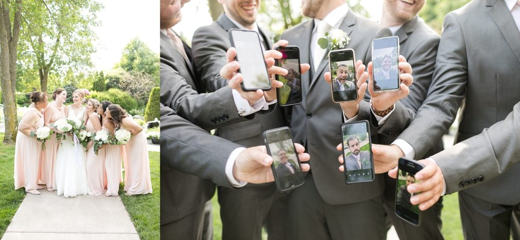 bridesmaids in vertical photo and groomsmen with selfies on phone screens at wedding atThe Florian Gardens in Eau Claire