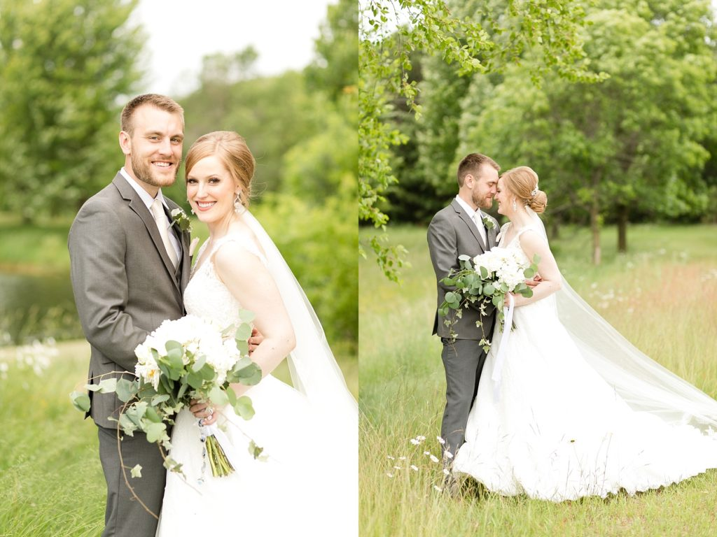 bride and groom in a field at wedding atThe Florian Gardens in Eau Claire