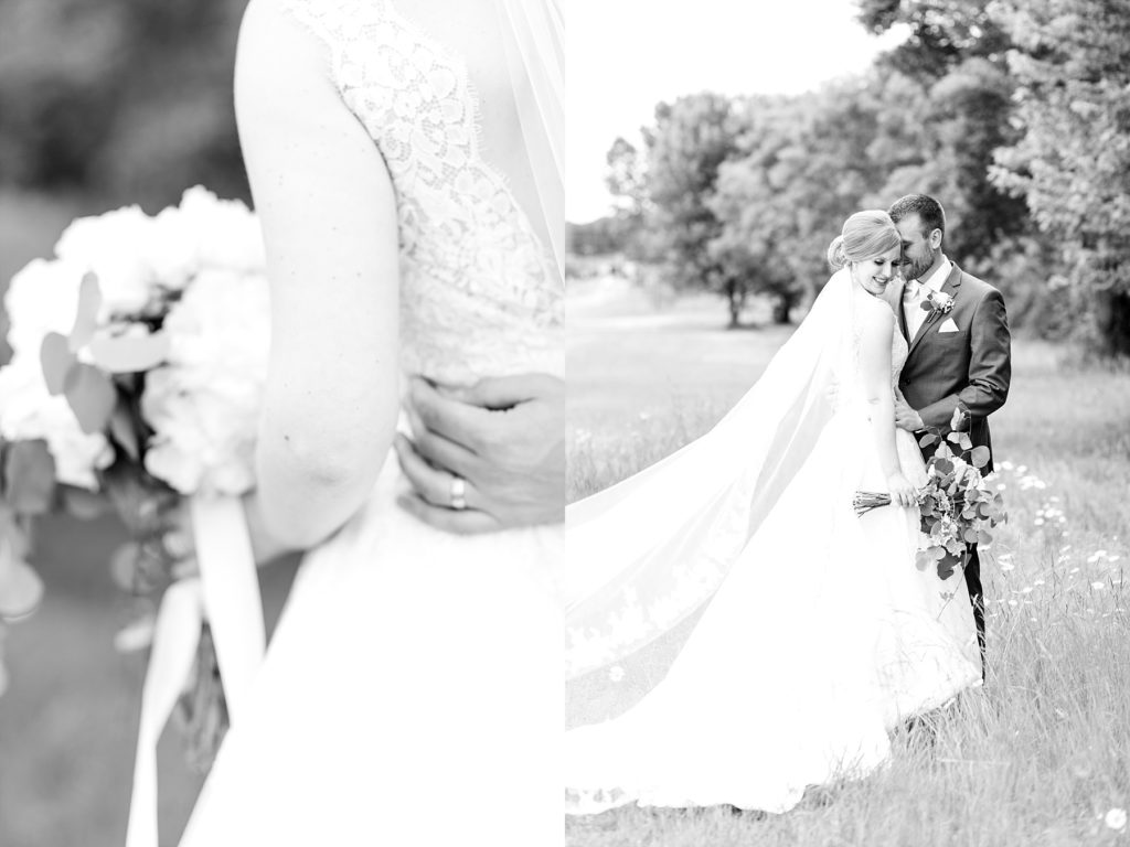 black and white photos of bride and groom at wedding atThe Florian Gardens in Eau Claire