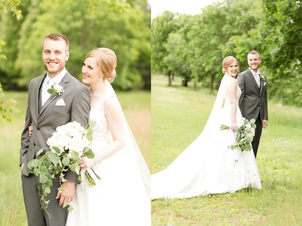 bride and groom portraits at wedding atThe Florian Gardens in Eau Claire