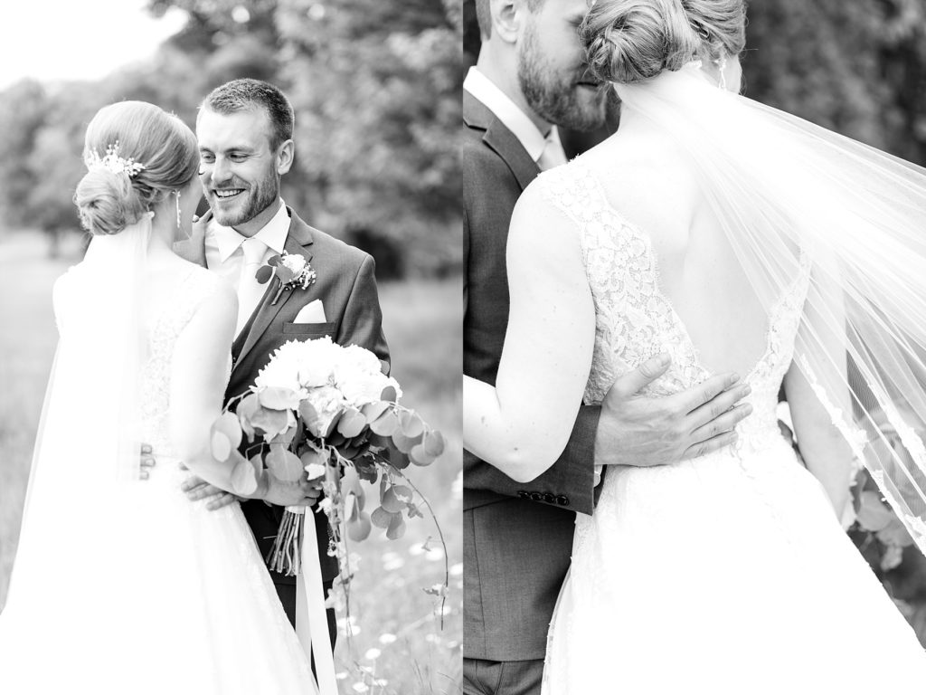 black and white photos of the bride and groom at wedding atThe Florian Gardens in Eau Claire