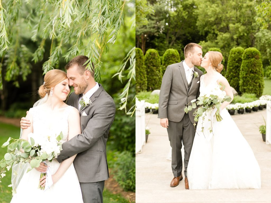 photo of couple in the gardens at wedding atThe Florian Gardens in Eau Claire