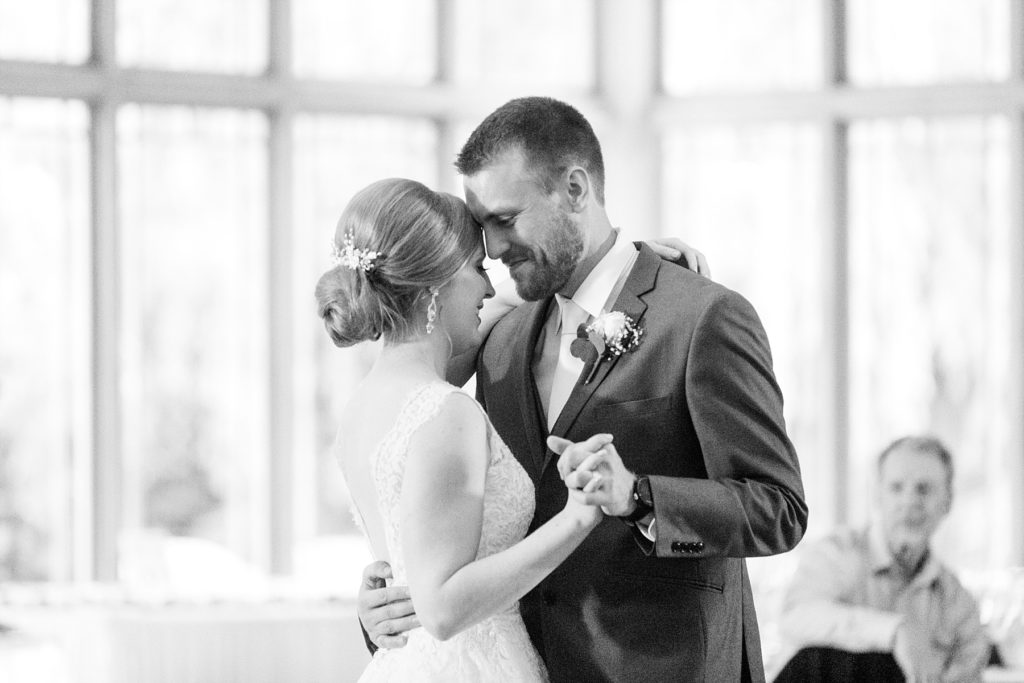 black and white photo of the first dance at wedding atThe Florian Gardens in Eau Claire