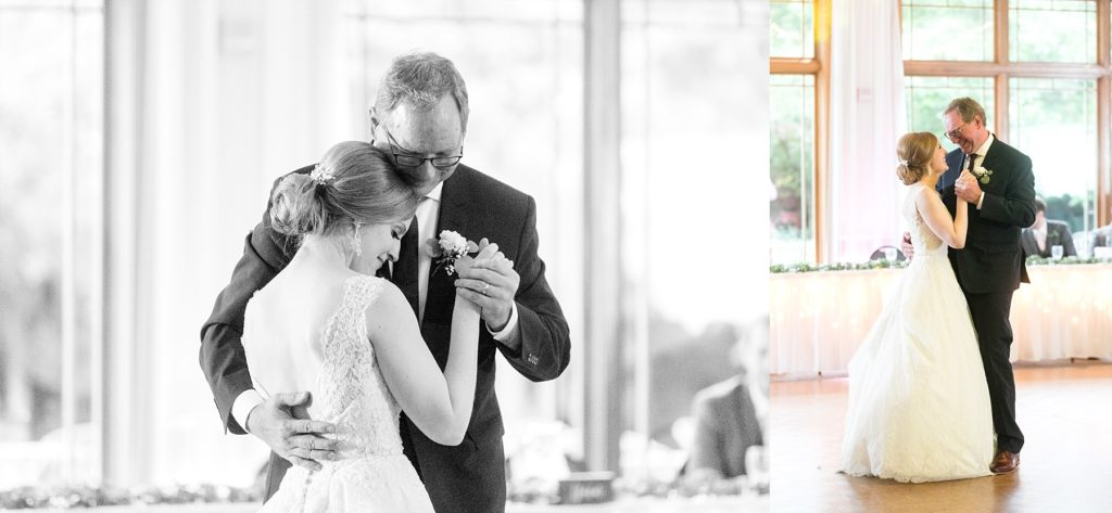 father daughter dance at wedding atThe Florian Gardens in Eau Claire