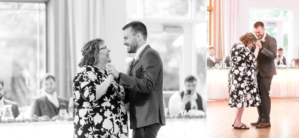 mother son dance at wedding atThe Florian Gardens in Eau Claire