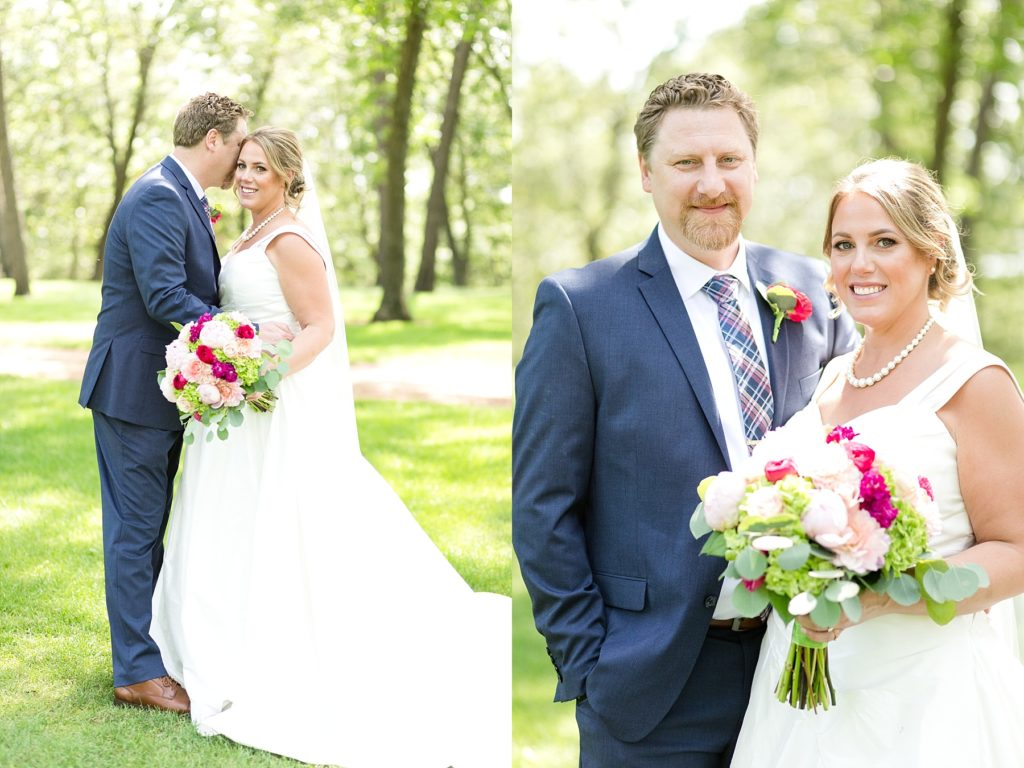 bride and groom first look at the Eau Claire Golf & Country Club
