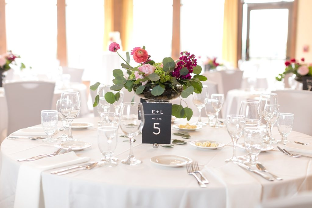 table settings and floral design by Brent Douglas at the Eau Claire Golf & Country Club