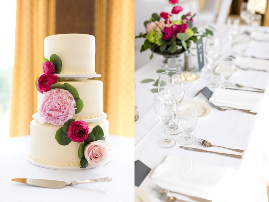 Wedding cake by Buttercream of Eau Claire and place settings at the Eau Claire Golf & Country Club