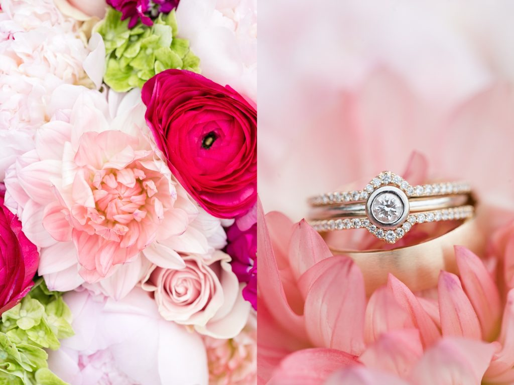 bride's bouquet by Brent Douglas in Eau Claire and brides rings sitting inside the dahlia