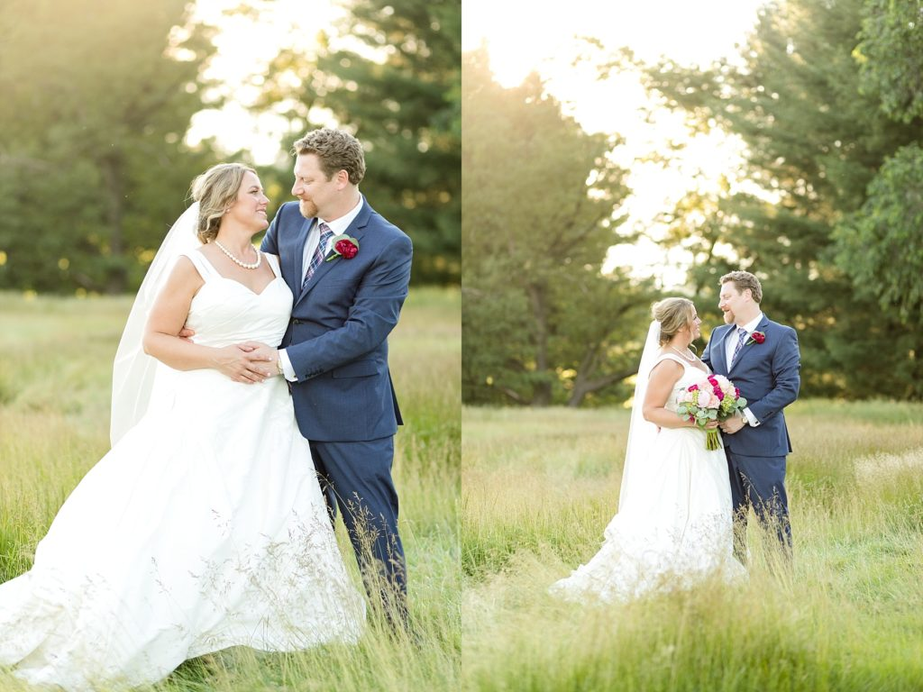 couple in a field with glowing light at the Eau Claire Golf & Country Club