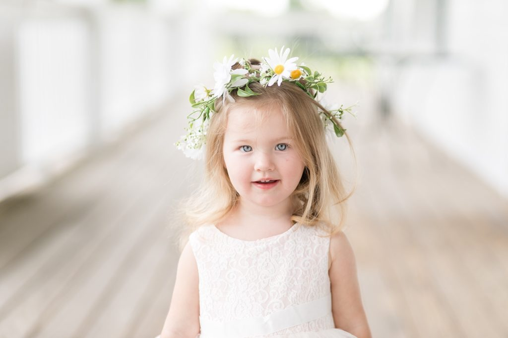 flower girl with floral crown made by Brent Douglas Flowers at Lake Wissota Golf & Events
