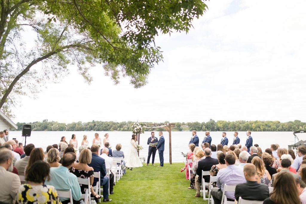 wedding ceremony on the lake at Lake Wissota Golf & Events
