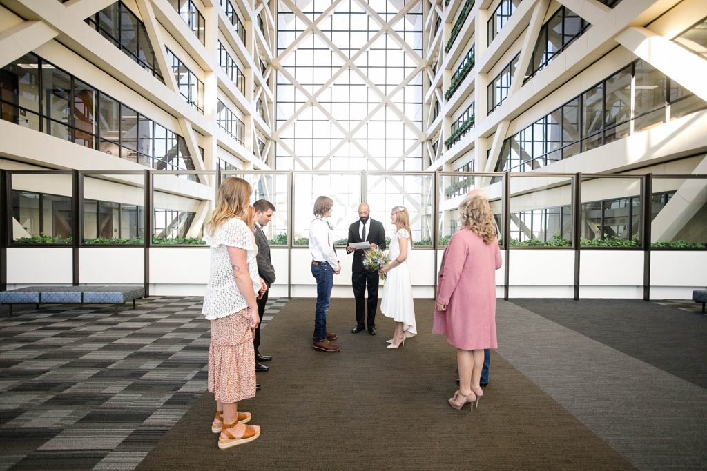 courthouse ceremony on the 17th floor at the Hennepin County Government Center after having their Minneapolis courthouse wedding