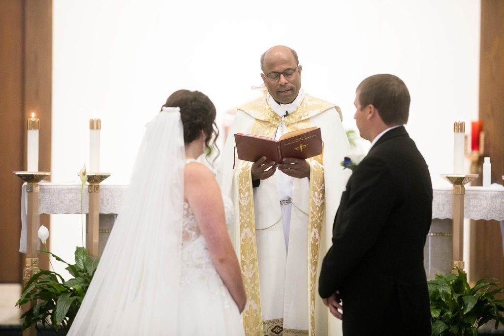 wedding ceremony at Immaculate Conception Church in Eau Claire
