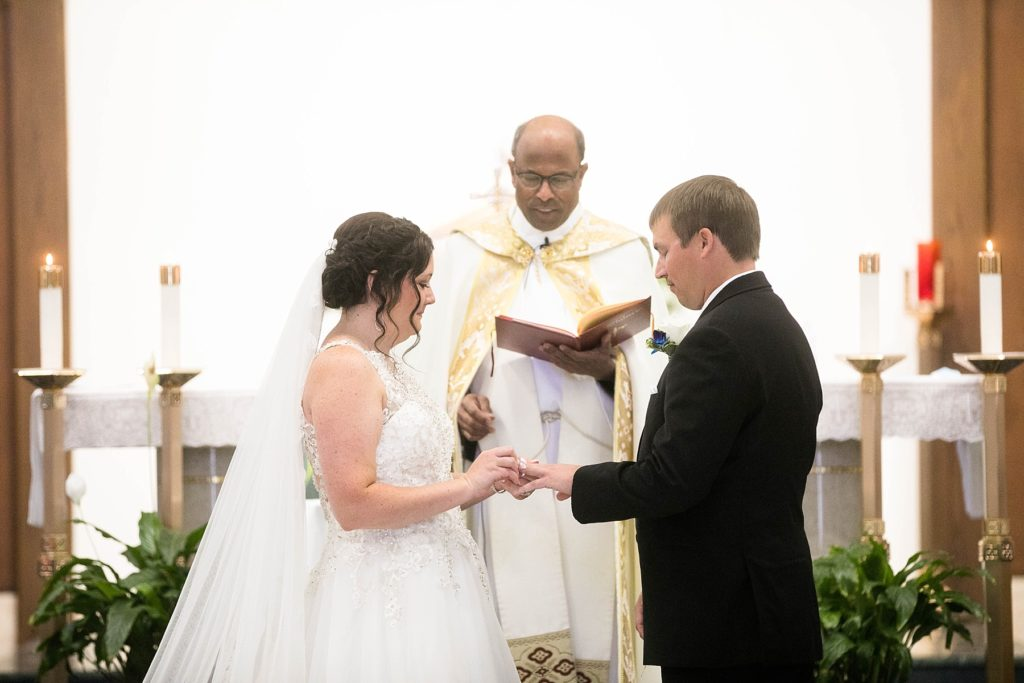 wedding sacrament at Immaculate Conception Church in Eau Claire