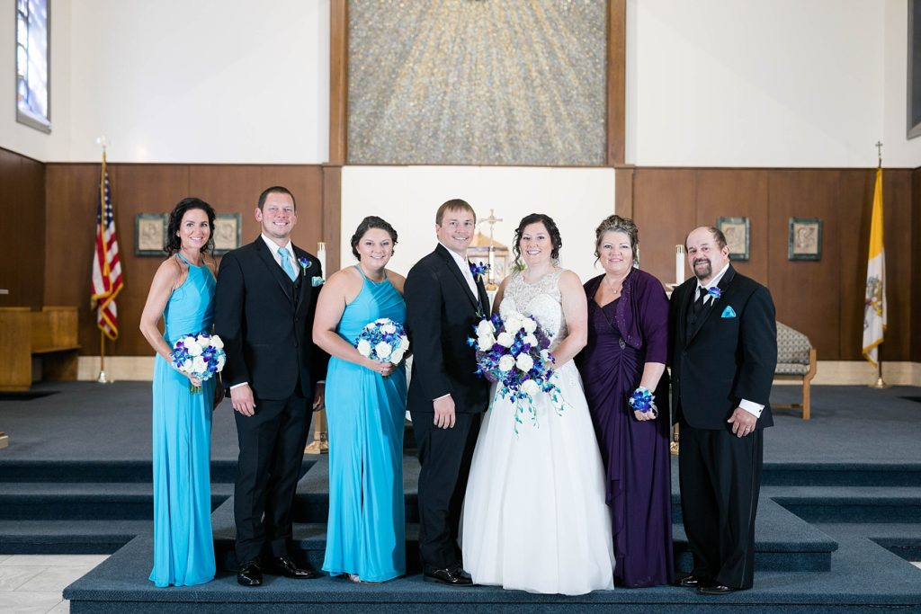 formal family photos at Immaculate Conception Church in Eau Claire