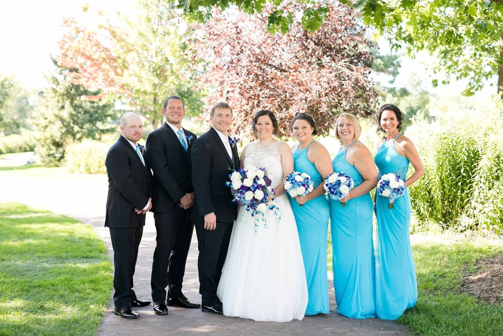 bridal party photos at Immaculate Conception Church in Eau Claire