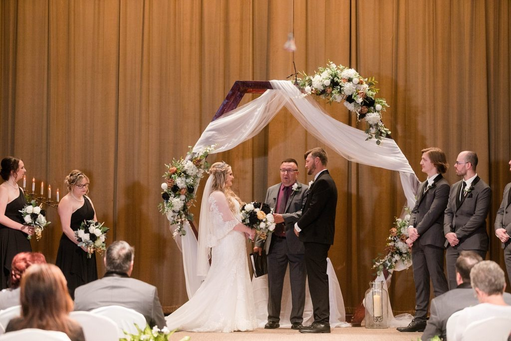 wedding ceremony  at Masonic Ballroom in Eau Claire