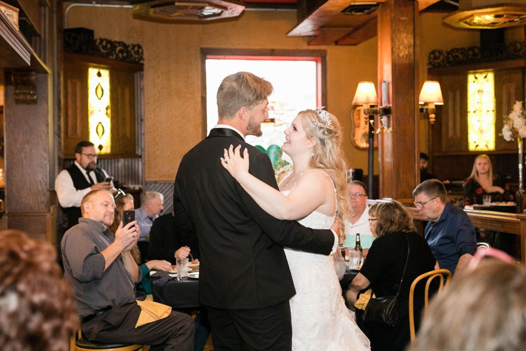 couples first dance at Houligans in Eau Claire