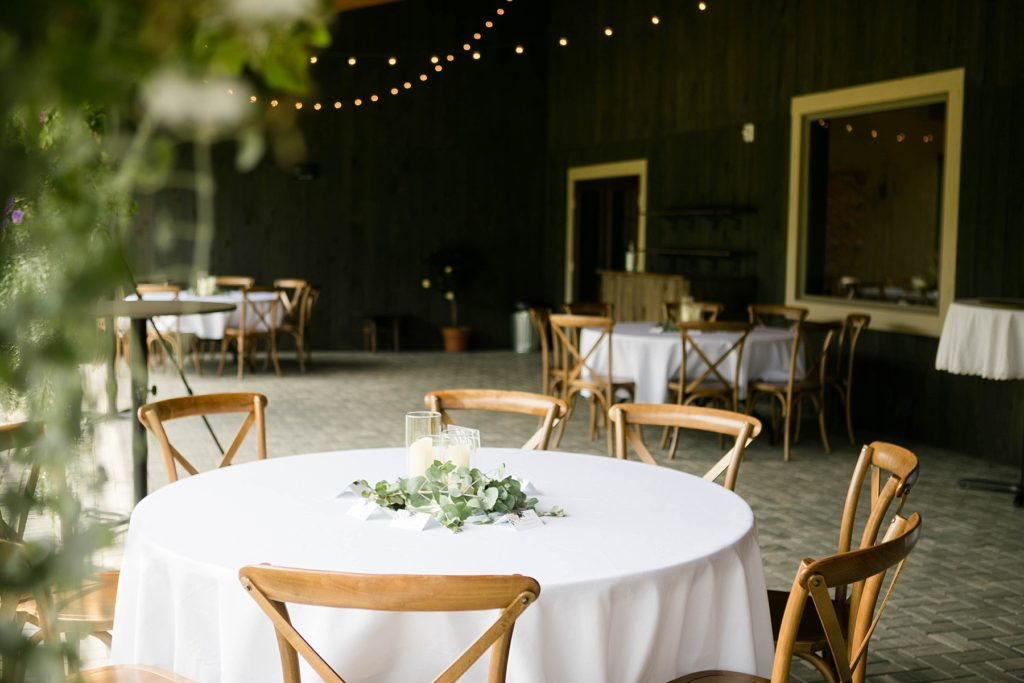 outdoor reception space decorated with flowers at Lilydale in Chippewa Falls, WI