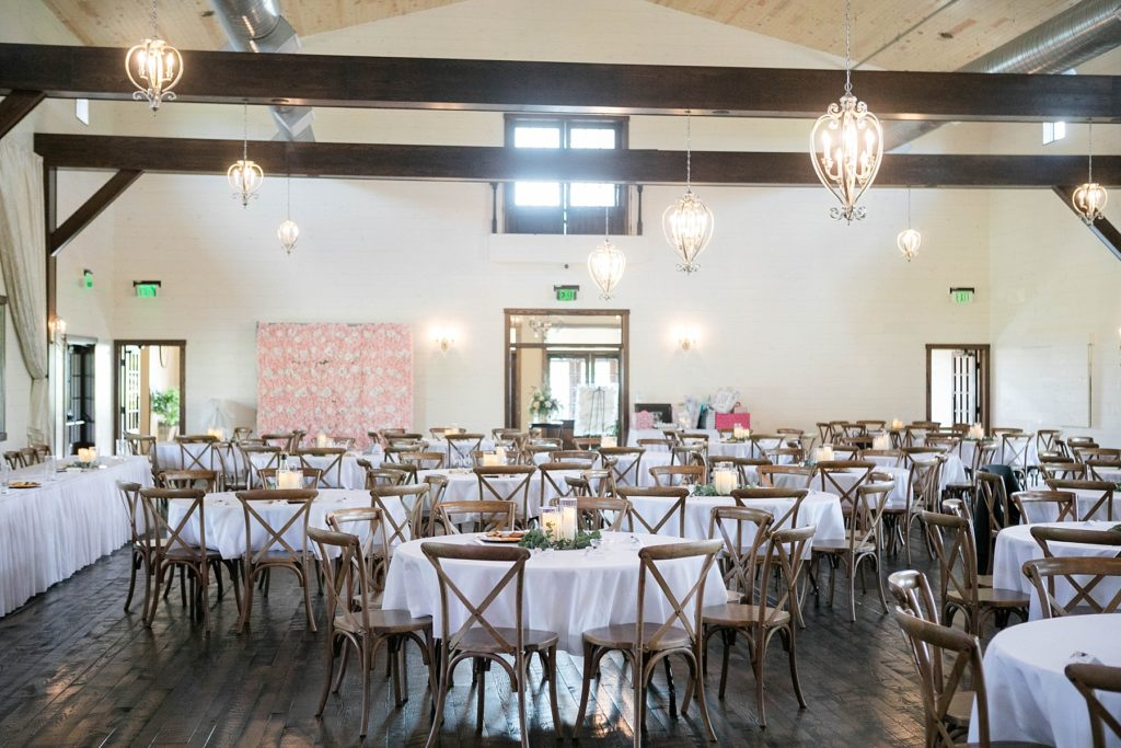 reception space decorated in blush at Lilydale in Chippewa Falls, WI