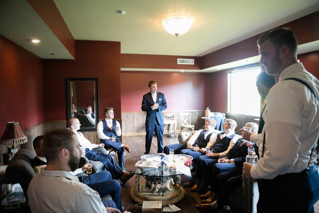 groom and groomsmen in the grooms suite at Lilydale in Chippewa Falls, WI