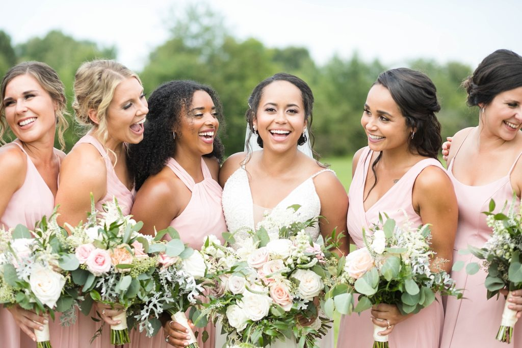 bride and bridesmaids laughing at Lilydale in Chippewa Falls, WI