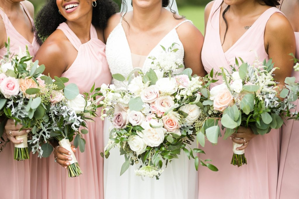 bride and bridesmaids flowers by Alma Floral at Lilydale in Chippewa Falls, WI