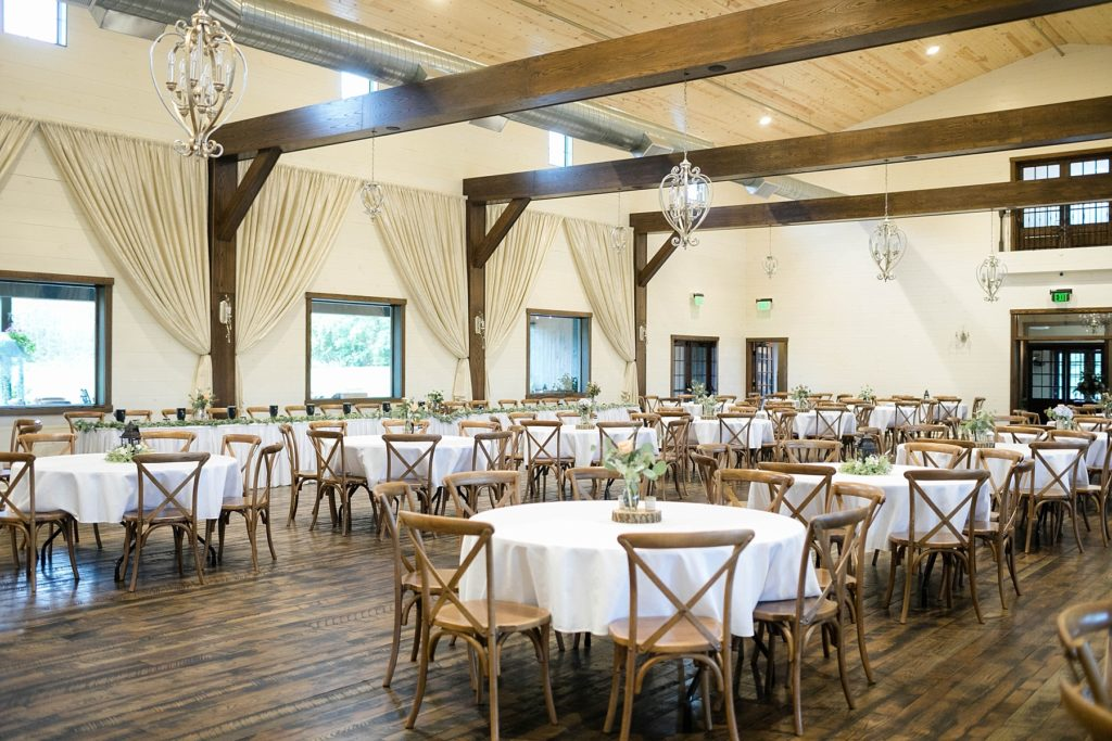 reception space decorated at Lilydale in Chippewa Falls during their fall wedding