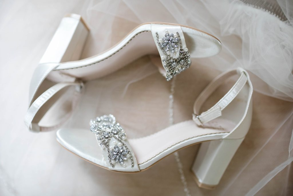 brides shoes at Lilydale in Chippewa Falls during their fall wedding