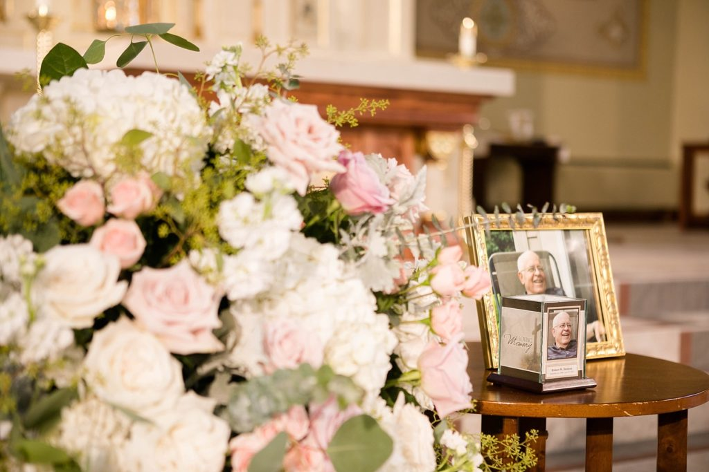 memorial of father for wedding ceremony at Notre Dame Catholic Church in Chippewa Falls
