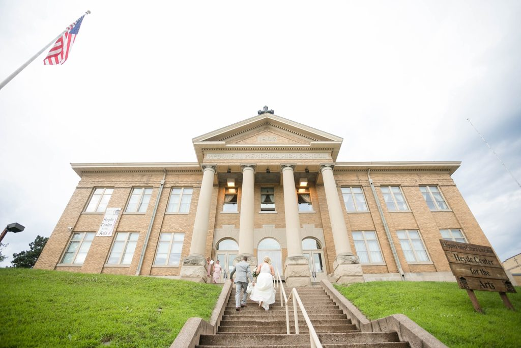 couple walking up the stairs at the Heyde Center in Chippewa Falls