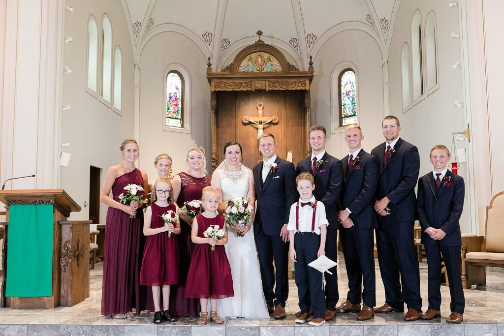 small bridal party at St. Charles Borromeo Catholic Church in Chippewa Falls