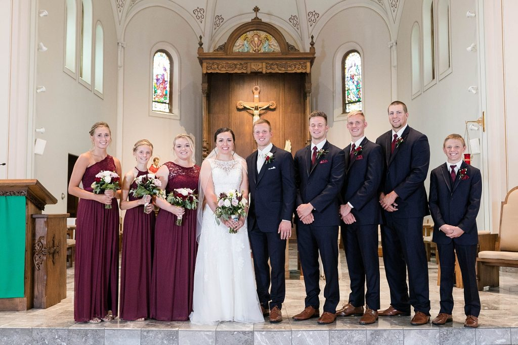 bridal party photos at St. Charles Borromeo Catholic Church in Chippewa Falls