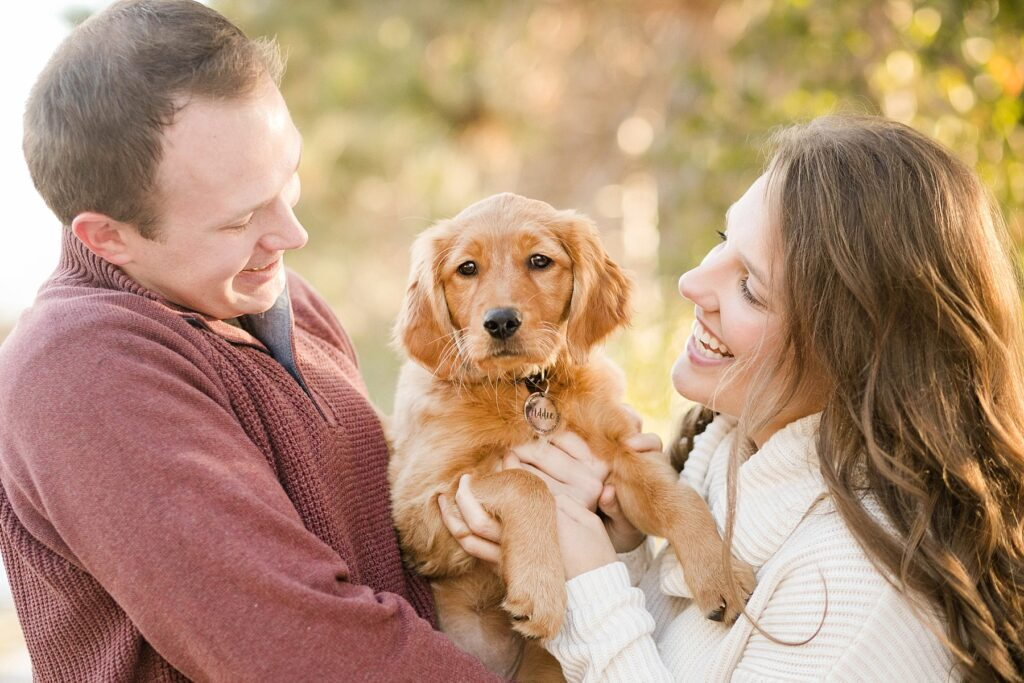 couple with new golden retriever puppy for their Eau Claire couples session with new puppy