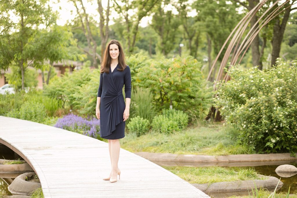 Alicia Arnold, M.D. poses in River Prairie Park for her physician headshots in Eau Claire, WI for a publication