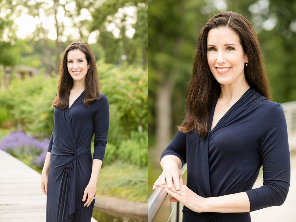 Alicia Arnold, M.D. poses in River Prairie Park for her physician headshots in Eau Claire, WI for an article featured in a physicians publication