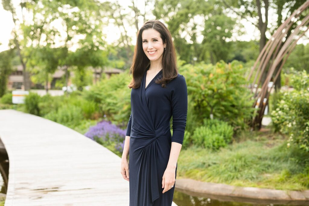 Alicia Arnold, M.D. poses in River Prairie Park for her physician headshots in Eau Claire, WI