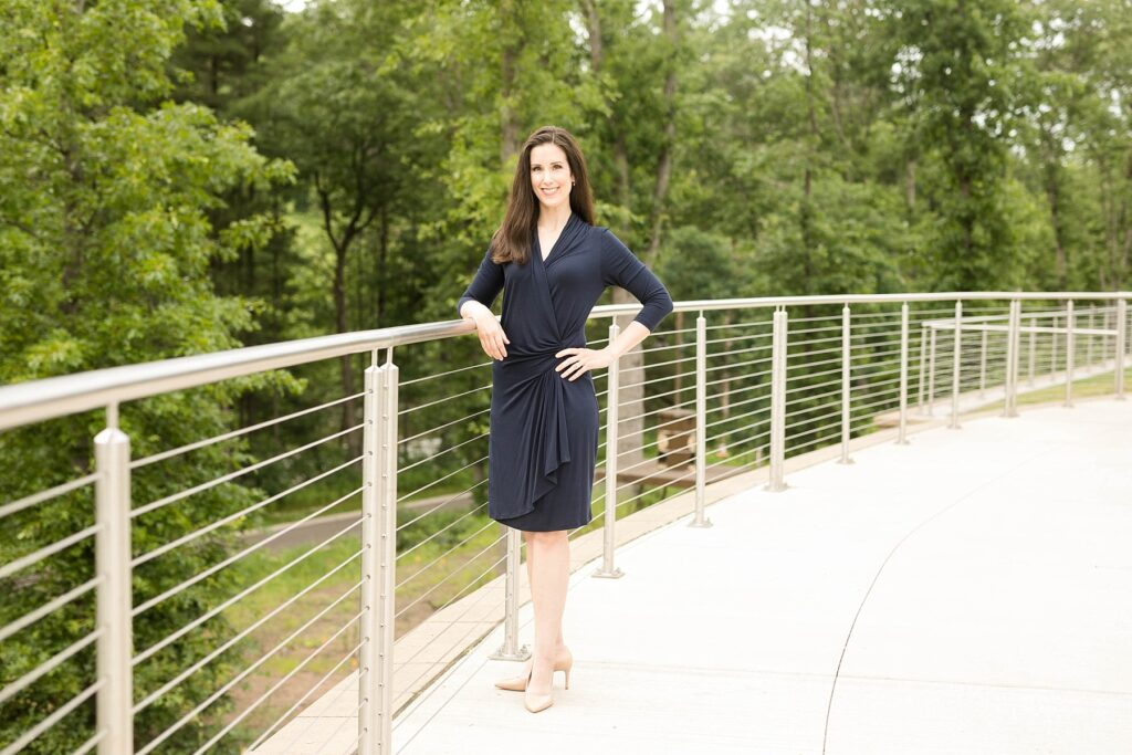 Alicia Arnold, M.D. poses in River Prairie Park for her physician headshots in Eau Claire, WI for an article featured in Practice Link