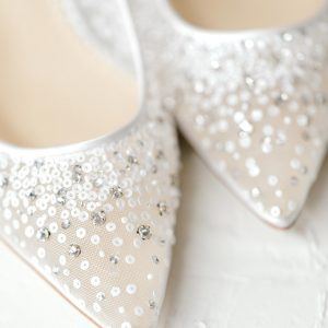 Close up of Bella Belle shoes at a French Countryside Inspired Wedding at The Mill in Chetek, WI